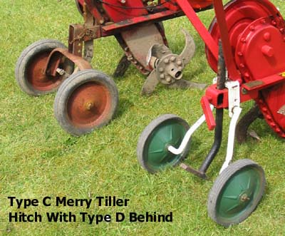 Type C Merry Tiller Hitch, Skid & Transport Wheel assembly with Type D behind